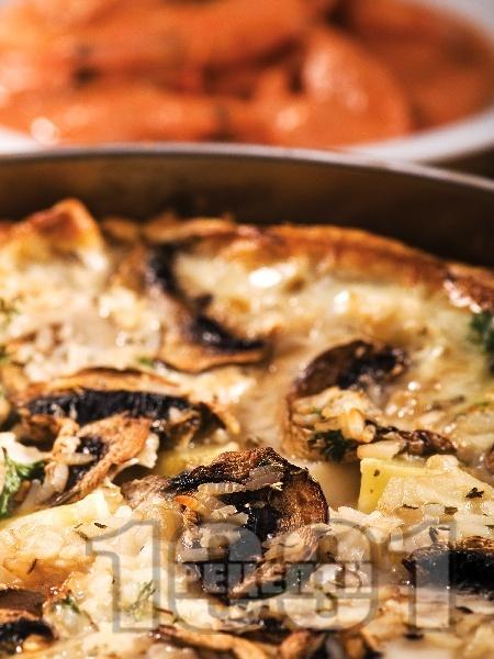 Киш с гъби, риба и картофи на фурна - снимка на рецептата